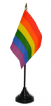 Gay Pride Rainbow Desk / Table Flag with plastic stand and base